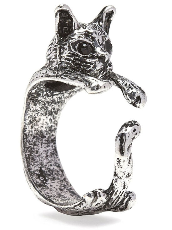Cat Ring In Silver Tone Alloy