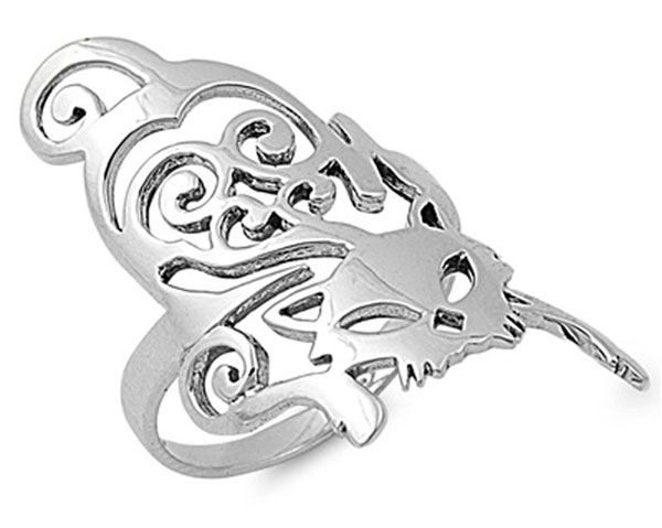 Sterling Silver Womens Filigree Cat Ring