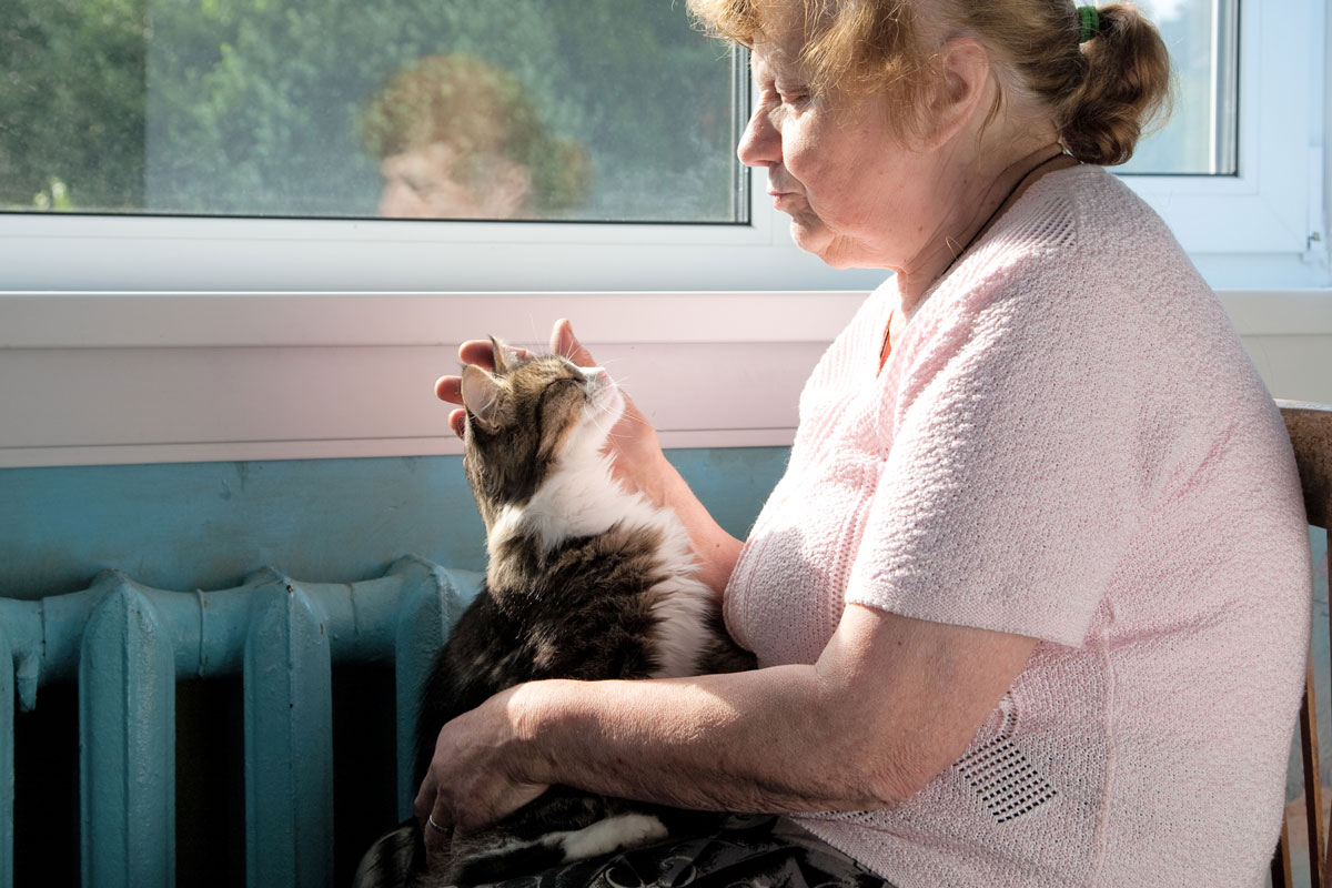 An old woman holds a therapy cat in her lap