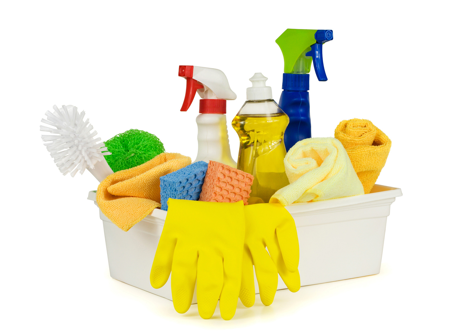 Cleaning equipment's on a white background
