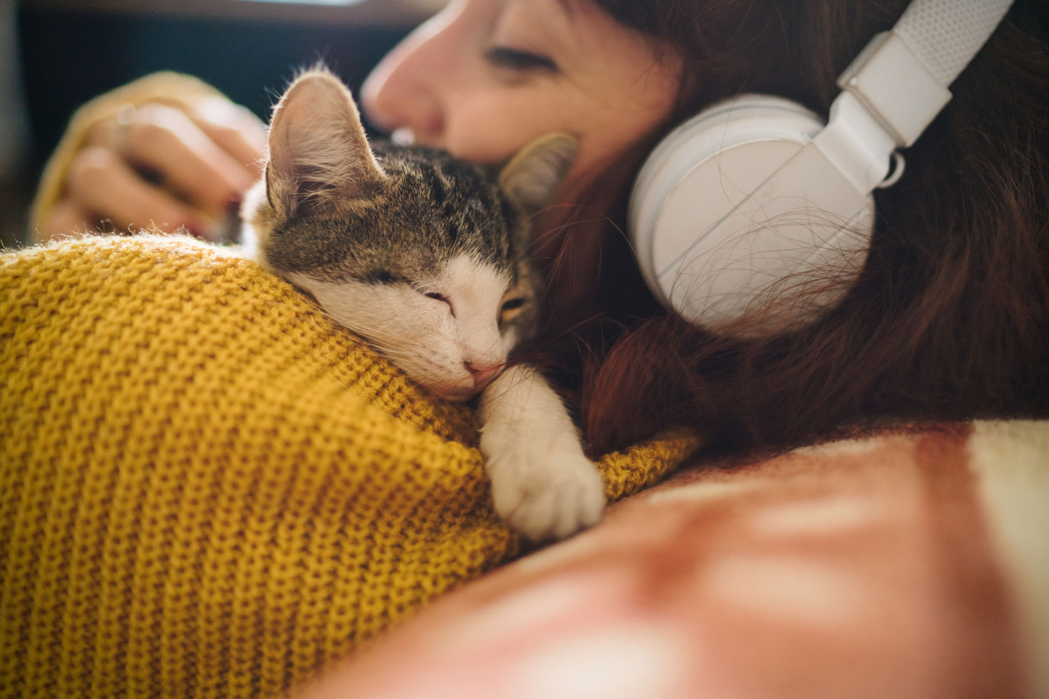 A young woman wearing headphones and petting a cat lying in front of her